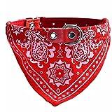 UEETEK Collare a bandana per cani e gatti Collari regorabili con sciarpa da animali domestici in rosso