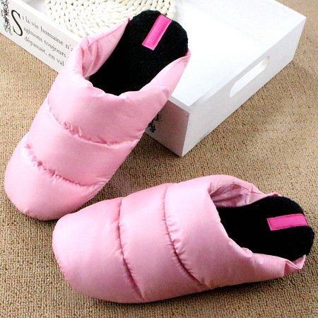 DogHaccd pantofole,Inverno in piuma di ispessimento pantofole di cotone leggero coppie soggiorno caldo scarpe antiscivolo fondo morbido cotone scarpe Rosa chiaro4