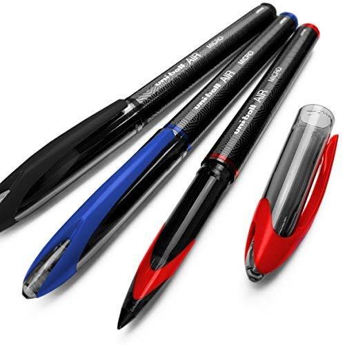 Uni-Ball Aria Micro - 0.5mm Fine Penna a Sfera - 3 Confezioni - Nero, Blu, e Rosso - UBA-188-M