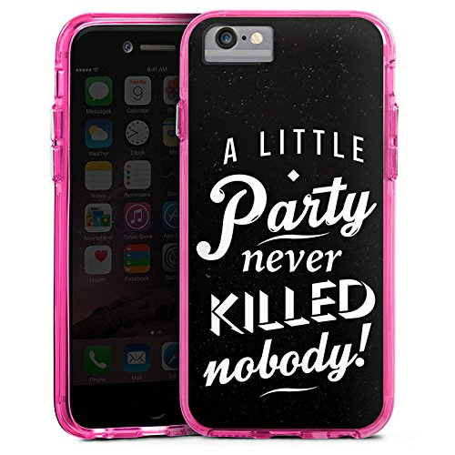 Apple iPhone 7 Plus Bumper Hülle Bumper Case Glitzer Hülle Party Phrases Sayings Bumper Case transparent pink