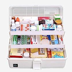 ZUJI Boîte à Pharmacie Multicouche Compartiment de Rangement de Médecine Trousse Pharmacie de Premiers Soins (Blanc)