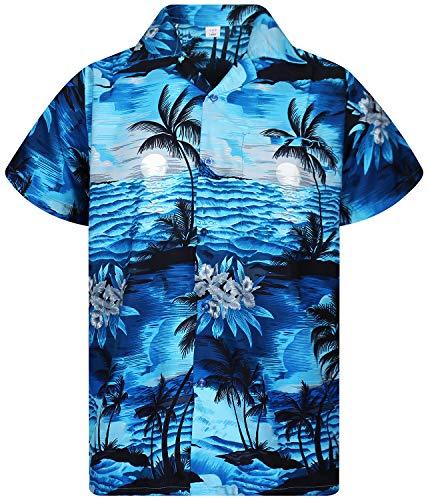 V.H.O. Funky Hawaiihemd, Kurzarm, New Surf, Dunkeltürkis, 3XL