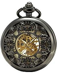 SEWOR Grace Koi esqueleto reloj de bolsillo negro mecánica mano viento con funda de piel caja de regalo