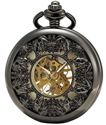 SEWOR Japan Koi See Through Mechanical Hand Wind Pocket Watch Lucky Gift (Black)