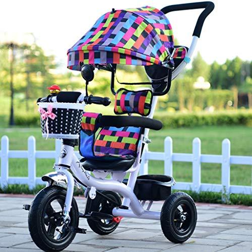 Baby stroller- Kinder Dreirad Fahrrad Kinderwagen Junge Mädchen Fahrrad Leichte Warenkorb (Farbe : White square Peng) - Mini Jogger Double City