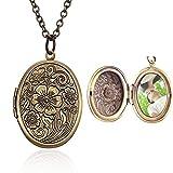 Hsumonre Halskette mit Medaillon, oval, bronzefarben, antiker Anhänger
