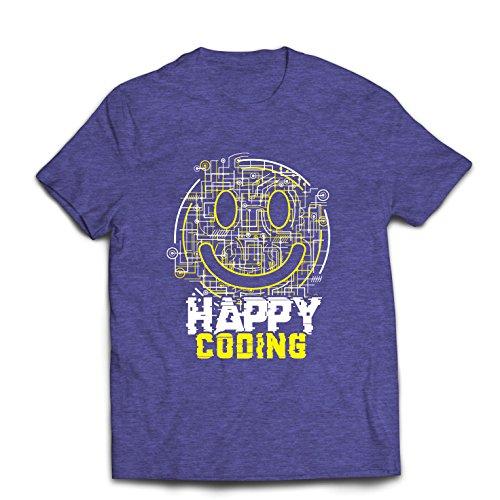 Männer T-Shirt Fröhliche Codierung - Lächeln Sie Gesicht, lustiges Emoji, Perfektes Geschenk für Spieler Oder Computer Services (Medium Heidekraut Blau Mehrfarben)