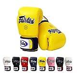 Fairtex Muay BGV1 - Guanti per muay thai e kick-boxing, misura: 284 g, 332 g, 397 g, 454 g, colore: nero, blu, rosso, giallo, bianco Guanti da allenamento per kick boxing MMA K1., Uomo donna, Yellow, 10 once, 184 g