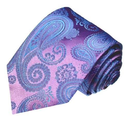 LORENZO CANA - Hochwertige Marken Krawatte aus 100% Seide - Lila Violett Blau Paisley - 84168