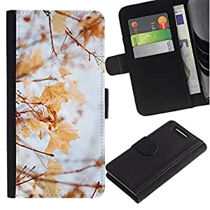 EuroTech - Sony Xperia Z1 Compact D5503 - Winter Autumn Fall Leaves Maple Yellow - PU Leder Schlank Brieftasche Kreditkarte Case Cover Schwarz Kunststoff Case Cover Shell Rüstung Hü