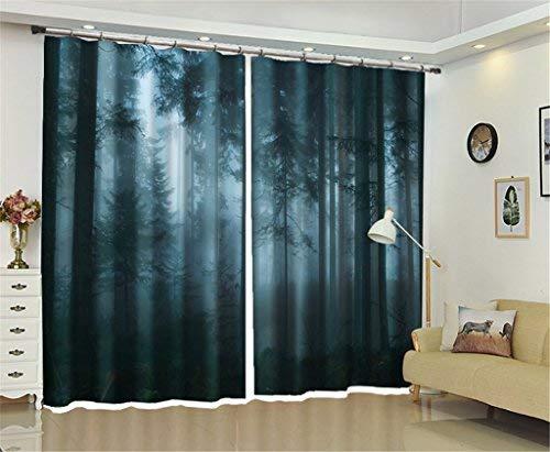 BAIF 2 Panels Vorhang Land, 100% Polyester Faux Fantasie Foggy Forest 3D Print Thermische Isolierte Verdunkelungsvorhang für Wohnzimmer Schlafzimmer Esszimmer Kinderzimmer, A, 300 * 270 cm (Küche Vorhänge Land)