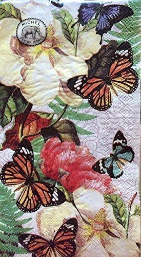 Michel Design Magnolia & Schmetterlinge Papier Hostess Servietten-163-lagigem Papier und -