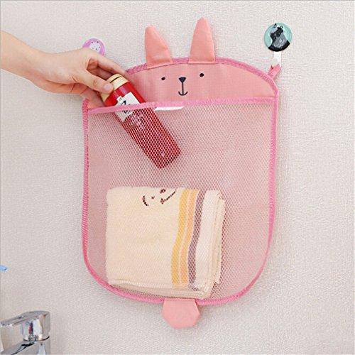 HENGSONG Baby Niedlich Badewanne Spielzeug Aufbewahrungstasche Badespielzeug Netz Tasche Badezimmer Organizer Hängender Mesh Beutel (Rosa)