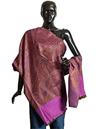 DollsofIndia Magenta with Brown Reversible Woolen Shawl - 38 x 80 inches (OP42)