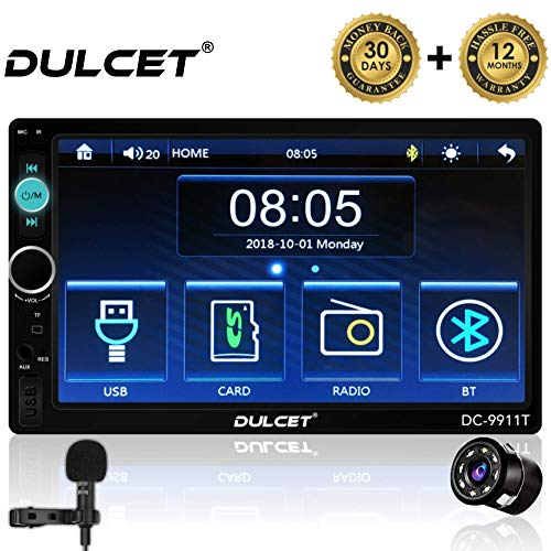 DULCET 240W Universal Fit Double Din 7 inch Full HD Capacitive Touch Screen Car Stereo Supports Bluetooth/USB/FM/AUX/MMC/Screen Mirroring and Remote with HD 8 LED Night Vision Car Rear View Camera
