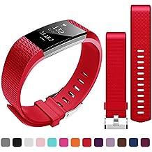 Correa de silicona ajustable Bepack Fitbit Charge 2 correa de repuesto para pulsera de ritmo cardíaco y actividad física Fitbit Charge 2, color Bright Red