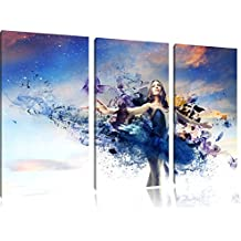 Ballerine rêveuse en robe bleue 3-piece Canvas Art 120x80 image on canvas, XXL huge Pictures completely framed with stretcher, Art print on wall picture with frame, gänstiger as a painting or an oil painting, not a poster or banner