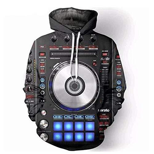 MICOKY Kapuzenpullover Coole Mode DJ Musik Disc 3D-Digitaldruck Langarm-Pullover Hip-Hop-Sweatshirt Musik Sweatshirt