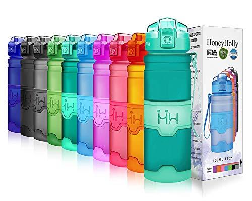 HoneyHolly Bottiglia d'Acqua Sportiva 400ml/500ml/700ml/1 litro, Senza bpa tritan plastica, Riutilizzabile & a Prova di perdite Borraccia Acqua a con Filtro per Bambino, Scuola, Palestra, Sport