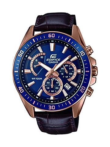 Casio Edifice - Montre Homme Analogique avec Bracelet en cuir Véritable - EFR-552GL-2AVUEF