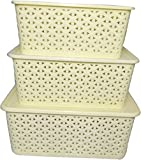 #5: wudkraft multipurpose storage basket set of 3 pcs