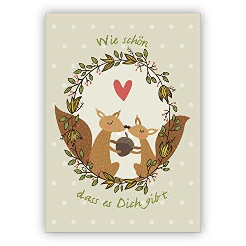 1 Weihnachtsgruß (privat & geschäftlich) Eichhorn Liebes Weihnachtskarte mit Umschlag, Geschenkkarte zu Weihnachten, Grußkarte zum Weihnachtsfest auf lila: zu Weihnachten weil