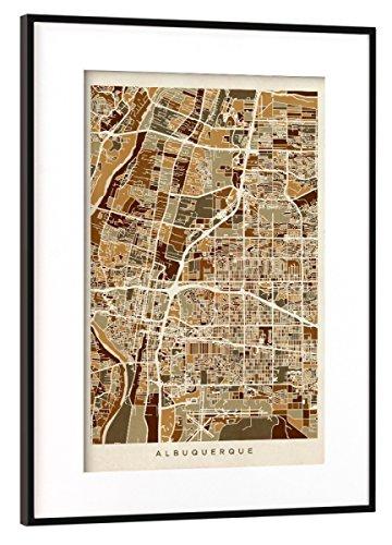 Albuquerque New Mexico Street (artboxONE Poster mit Rahmen Schwarz (Metallic) 30x20 cm Albuquerque New Mexico City Street Map von Michael Tompsett)