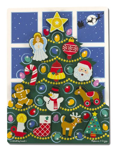 Melissa & Doug - Árbol de navidad, rompecabezas grande de madera (13718)