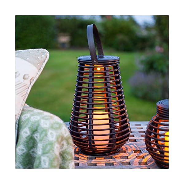 Lights4fun Set of 2 Rattan Solar Powered LED Outdoor Garden Lanterns 4