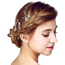 YAZILIND elegante tocado de pelo de novia pines de encaje flores de aleacion de pelo de