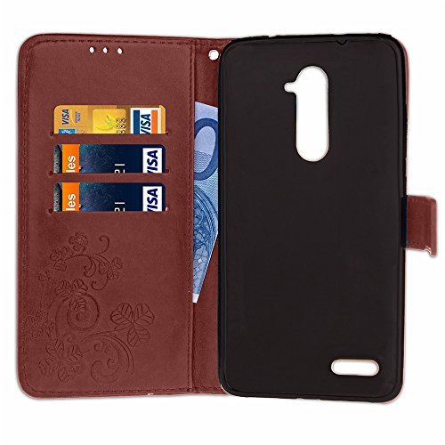 Für ZTE Z Max Pro Case Embossing Tree & Cat Pattern Soft PU Leder Schutzhülle mit Lanyard & Kickstand & Kartenhalter & Cash Slots ( Color : Purple ) Brown