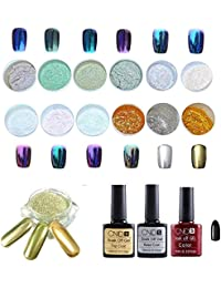 SKY nuevo !!!1 Set 12 colores Nail Art Shinning Espejo Glitter Powder Cromo Pigmento Negro UV Gel Top Base Coat