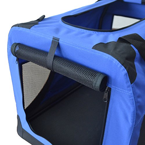 Hundetransportbox Hundebox faltbar Transportbox Autotransportbox Faltbox Transportasche 401-D01 royal blau Grösse: S – 49cm x 34,5cm x 34,5cm - 4