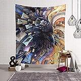 Cabeza de Lobo Tapiz Animal hogar Colgante de Pared Arte Natural tapicería Cuadrada Sala de Estar Dormitorio decoración QYSZYG (Color : C, Tamaño : 203x150)