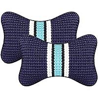 wxzdq 2pcs auto cabeza almohada, hielo de alambre, cabeza de coche almohadilla, almohadilla del cuello, espalda cojín, almohadilla del asiento de coche,Azul oscuro