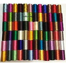 50 bobinas de máquina de coser seda arte bordado hilos Brother cantante 50 color