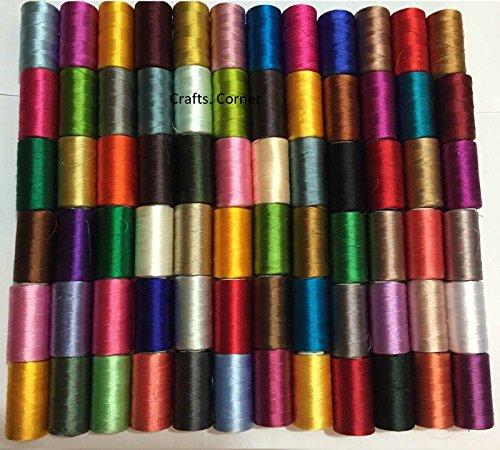50 bobinas máquina coser seda arte bordado hilos