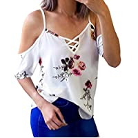 TUDUZ Women's T Shirt Floral Printing Off Shoulder T Shirt Short Sleeve Casual Chiffon Tops Blouse Large White