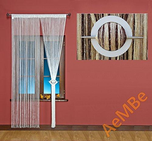AeMBe – Fadenvorhang Fadengardine Türvorhang – 150cm X 250cm – Braun / Beige / Ecru / Silberfaden – Höchste Qualität