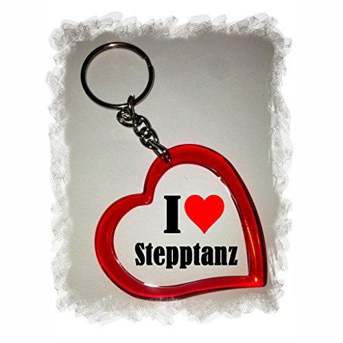 Druckerlebnis24 Herzschlüsselanhänger I Love Stepptanz, eine tolle Geschenkidee die von Herzen kommt| Geschenktipp: Weihnachten Jahrestag Geburtstag Lieblingsmensch