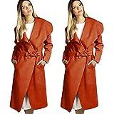Quaan Frau Mode Outwear, Plus Größe Winter Breit Revers Gürtel Tasche Wolle Mischung Lange Wolle Mantel Outwear Wolle weich Bluse genehmigen Klassisch Büro Anzüge Mantel