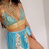 Womens Handmade Jasmine Princess Arabian nights co ord set halloween costume 2 piece crop top skirt bodychain by LiLiPearl