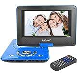 """ieGeek Lecteur DVD Portable 9"""" Écran avec Écran Pivotant Support la Carte SD et USB Charge de Voiture et Compatible MP3/ MP4/AVI/RMVB/TXT/JPEG – Bleu"""