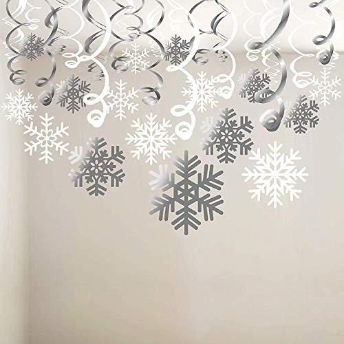 Schneeflocke wirbelt Dekoration (30pcs), Frohe Weihnachten Schneeflocke hängen wirbelt Girlande Folie Decke Ornamente für Weihnachten Winter Wonderland Urlaub Party Decor Supplies, bereits montiert (Decor Winter Wonderland Party)