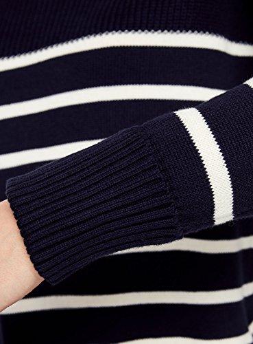 oodji Ultra Damen Baumwoll-Pullover Gestreift Blau (7930S)