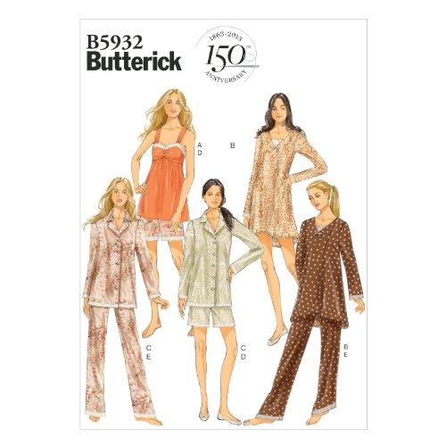 official photos 5bbc6 76125 Butterick Patterns B5932 Y - Cartamodelli da donna taglie XS, S, M,  canottiera in raso, abito, camicia, shorts e pantaloni, colore: Bianco