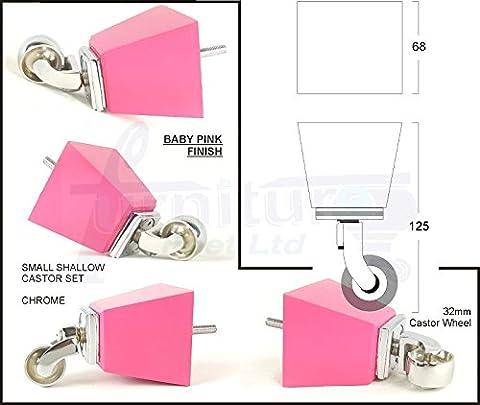 4X Bois massif Pieds de meubles Pieds de roulette de rechange pour canapés, chaises, canapés, poufs–M8(8mm)–Pkc364_ Chq, Baby Pink Set, M8(8mm)