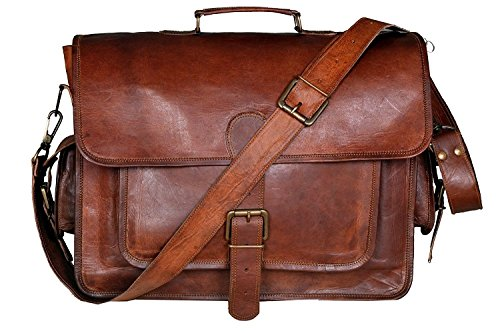 Men's Real Leather Crossbody Travel Satchel Laptop Macbook Briefcase Messenger Bag Brown (Computer Bag Briefcase)