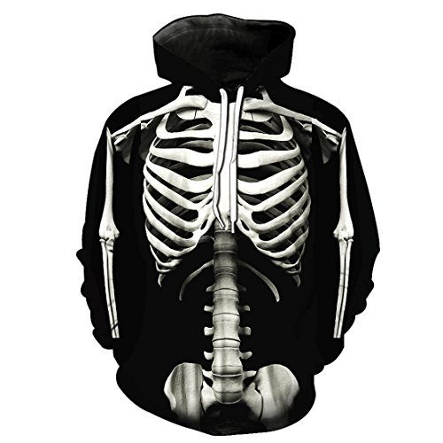 npullover Langarm Kapuzenjacke Digitaldruk Sweatshirt(China XL/EU 48,Skelett) ()