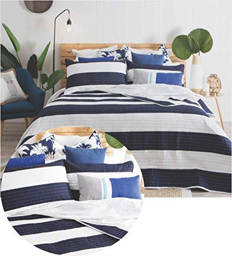 Gesteppt Modern Streifen blau Tagesdecke, Wendedecke/Tröster Set Überwurf Doppelbett Plus Kissenhüllen